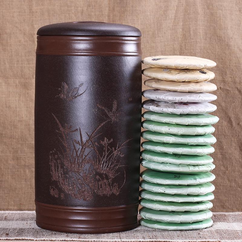 玖晟祥 宜兴大号紫砂普洱茶叶罐 醒茶罐粗陶茶缸堆花16至17饼装