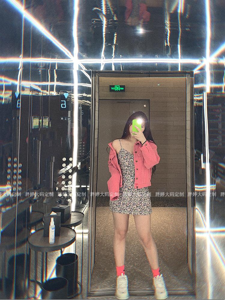 胖婷大尺码女装定製元气少女专属春季復古宽鬆上衣【粉色牛仔套装】详细照片