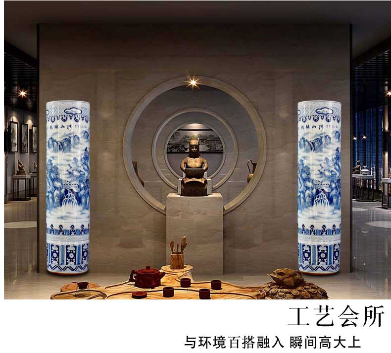 Hand - made kumsusan river, blue and white porcelain vases, pottery and porcelain landing big quiver jingdezhen ceramics furnishing articles