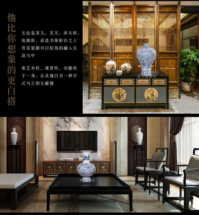 Jingdezhen ceramics floret bottle frosted by hand not glaze antique blue and white porcelain home decoration mesa furnishing articles
