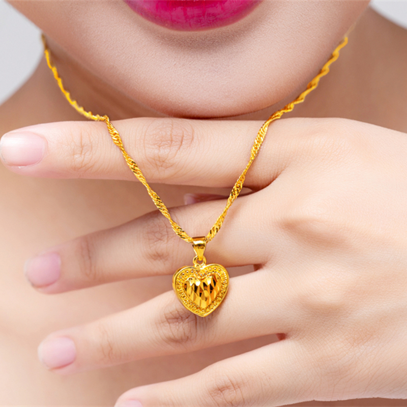 Gold necklace women transfer pearl gold apple pendant clavicle wave gold necklace women transfer pearl gold apple pendant clavicle wave chain 999 pure gold wedding jewelry aloadofball Image collections