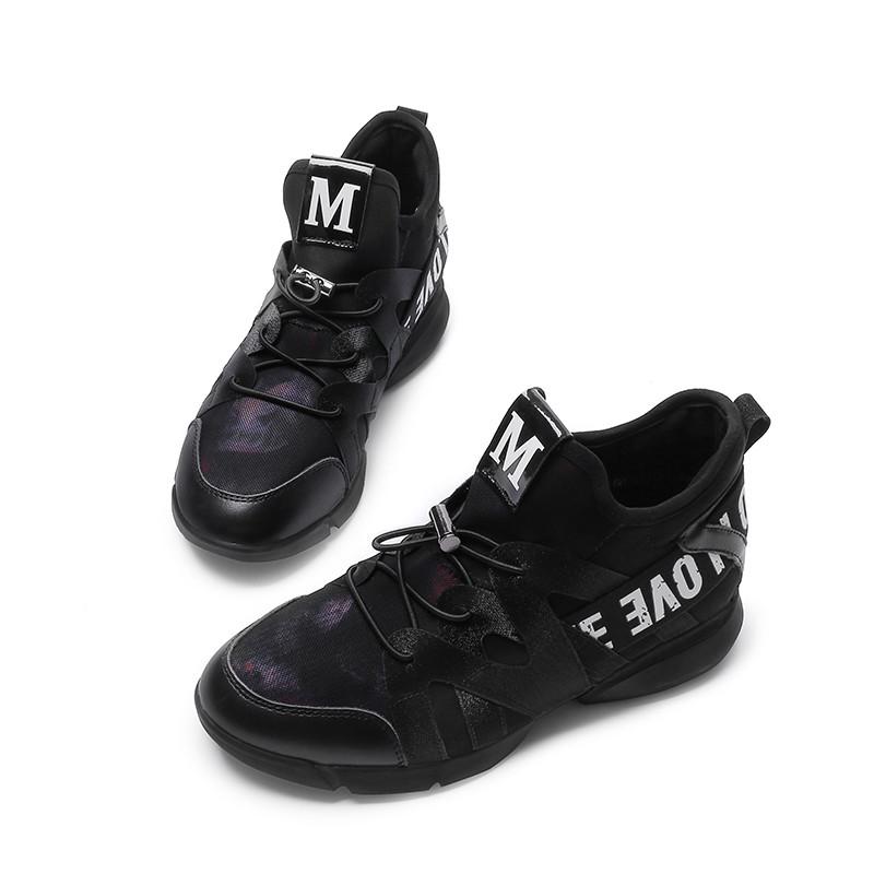 2017秋新款运动鞋黑色跑步鞋内增高女鞋