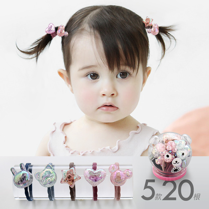 Girl's Accessories Girl's Hair Accessories Fashion Kids Baby Female Solid Color Bow Hair Rope Rubber Band Girl Apron Rubber Band Tiara Hair Accessories Hair Ring