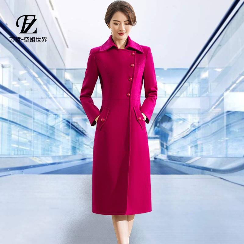 Fangzhe kinh doanh chuyên nghiệp mặc của phụ nữ hoan nghênh nghi thức tiếp viên đồng phục áo len trên đầu gối đoạn dài áo len
