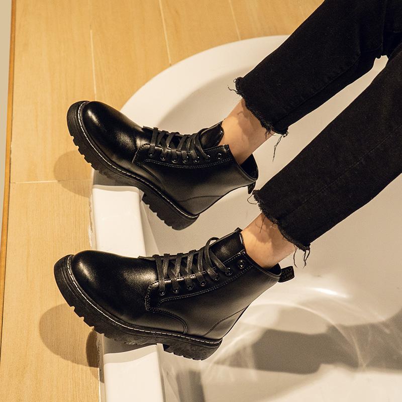 夏季厚底马丁靴男黑色英伦百搭青年高帮皮鞋学生韩版潮流中筒皮靴