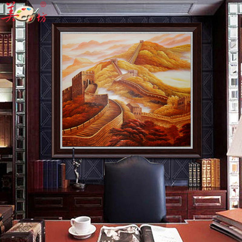 New Chinese Pure Hand Painted Oil Painting The Great Wall Landscape Painting  Office Conference Room