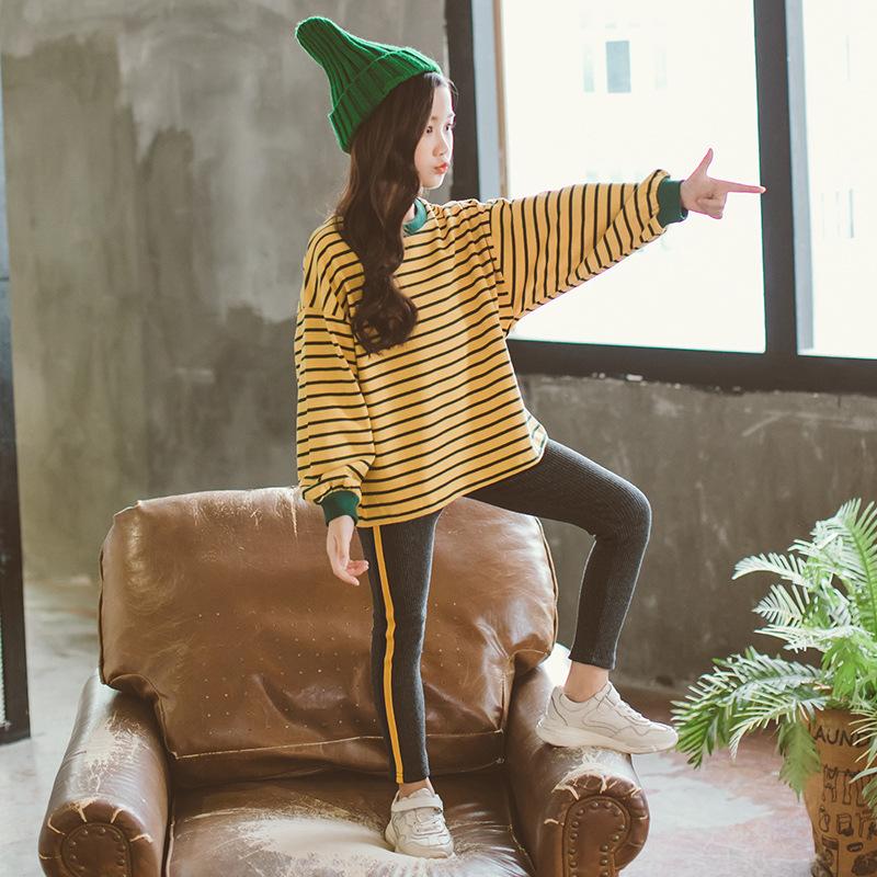 大童秋装女童12-15岁休闲童装2019新款加绒运动套装儿童冬季衣服