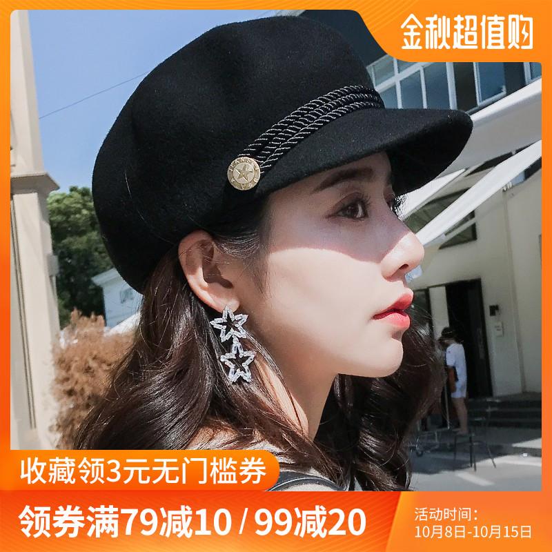 帽子女英伦复古毛呢礼帽八角贝雷帽秋冬韩版女士时尚潮百搭鸭舌帽