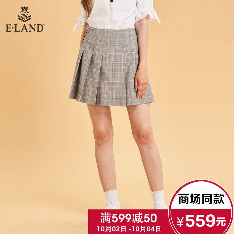 ELAND秋裝18新款經典英倫學院風格紋百褶拉鏈半身短裙EEWH83755A