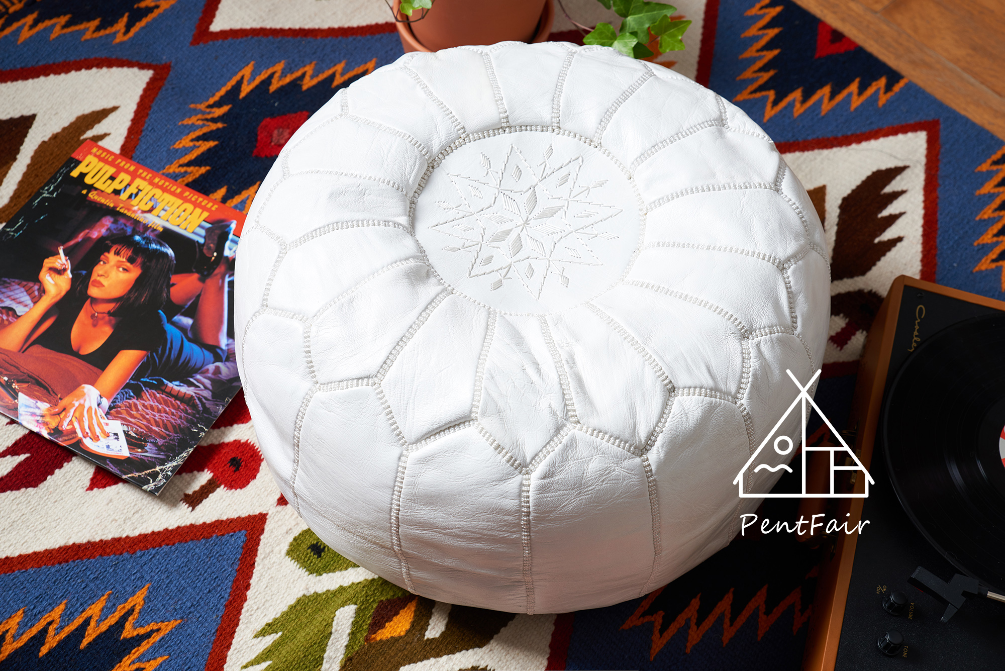 Татами leather pouf 摩洛哥皮墩曼达拉绣花手工羊皮蒲团坐垫坐墩 现货