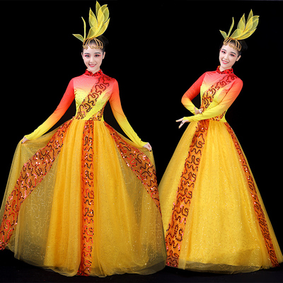 Chinese Folk Dance Costume Opening Dance Skirt Atmospheric Stage Costume with Long Skirt Modern Dance Costume Adult Female