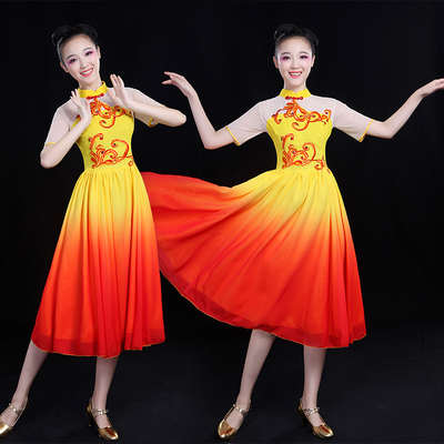 Chinese Folk Dance Costume Classical Dance Costume Modern Dance Costume Fan Dance Square Dance Dress Suit for Adults