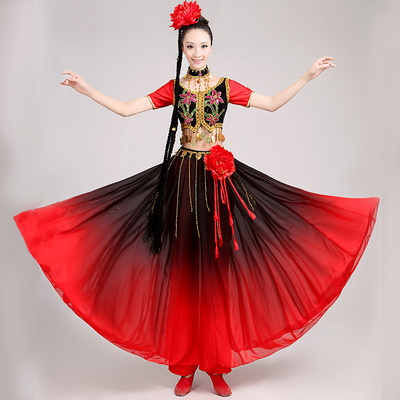 Chinese Folk Dance Costume  Dance Performance Dress Female Adult Ethnic Style Dress Dress Modern Uygur Long Skirt