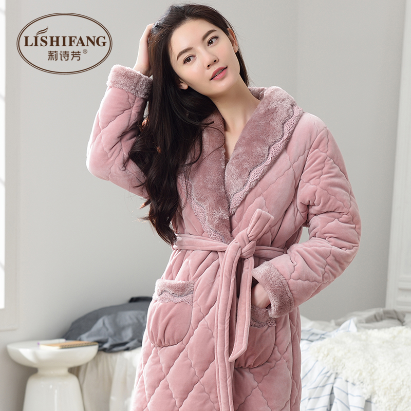 f2c614dc81 Nightgown female Winter flannel warm thickened plus long autumn and winter  plus velvet pajamas three quilted