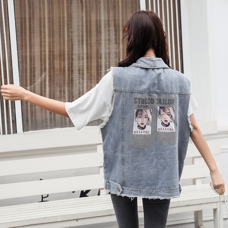 plus size do old vintage denim vest women 200 catty fat MM korean style new loose holes sleeveless shoulder jacket