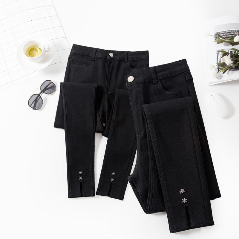 2017 autumn and winter new large size women's fat little sister was thin Leggings fat mm casual pants split foot pants