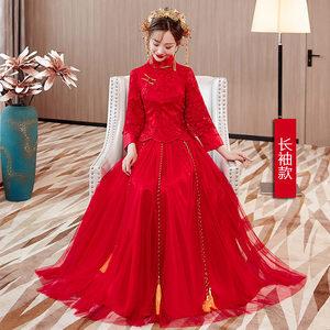 秀禾服新娘2018新款秋冬婚纱礼服新娘纱裙敬酒服中式红色婚服