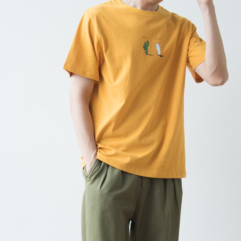 夏季日系简约小a学生仙人掌印花学生短袖T恤衫男潮青年纯棉