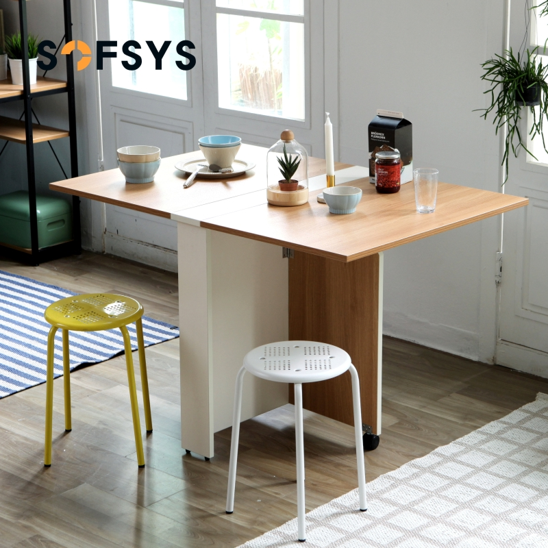SOFSYS table folding dining table household small apartment dining table  1.2 meters rectangular simple telescopic mobile table
