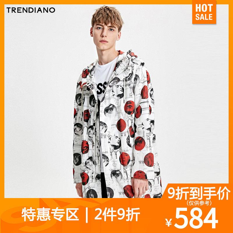 TRENDIANO风衣秋装波点人像宽松长款男装外套男3GCGC3040120
