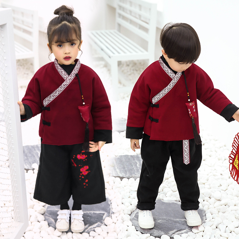 b158ed7dc Children New Year festive baby boy Tang suit winter suit Chinese style Girl New  Year clothes New Year clothes girls