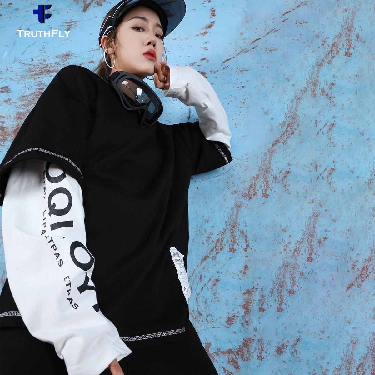 假两件卫衣女潮ins2019新款宽松荧光绿慵懒风韩版bf街舞嘻哈外套
