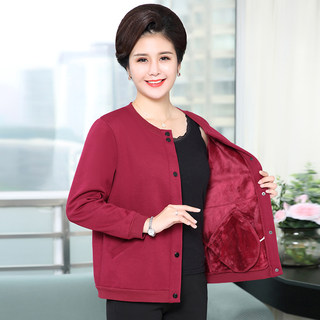 Middle-aged and elderly women plus fleece sweater home service mother wear coat jacket collarless thick jacket warm fleece plus size