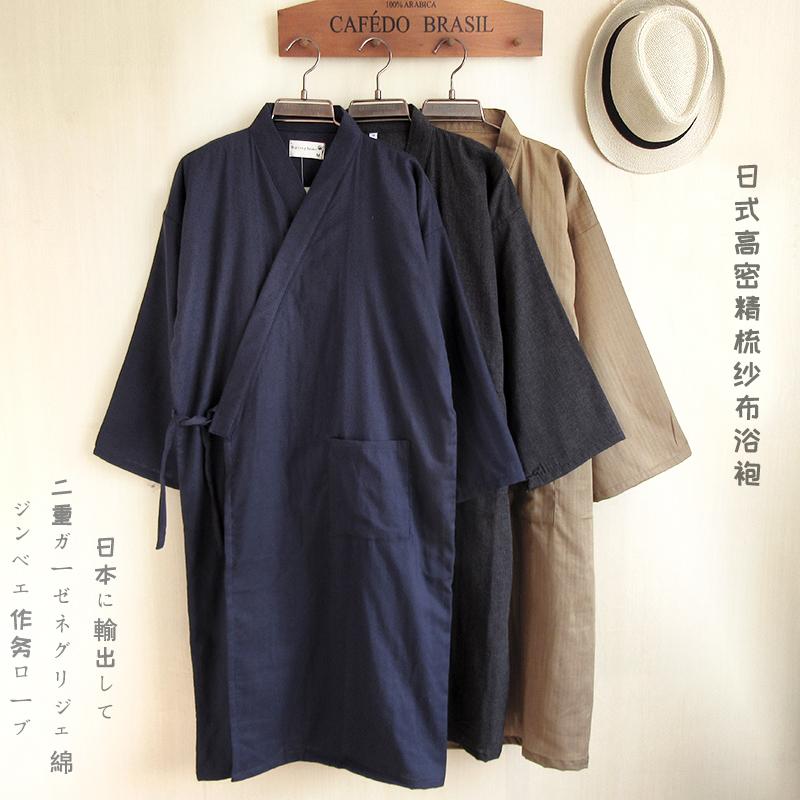 Японский ванна одежда кардиган лето мужчина кимоно женщина твердый тонкий демисезонный зефир пот пар одежда хлопок марля ночное белье