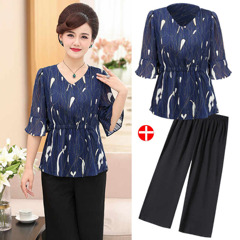 90ed1de7a151 Mom summer dress suit 40-50 years old middle-aged women s short-sleeved t- shirt tops women chiffon fashion two-piece set