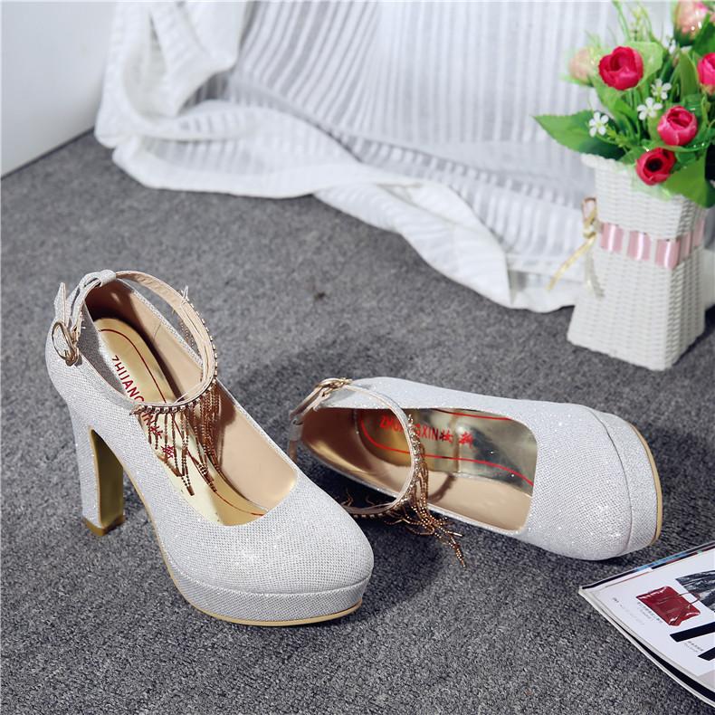妆新春夏季新款银色水晶高跟鞋女结婚鞋新娘鞋粗跟白色伴娘女鞋子