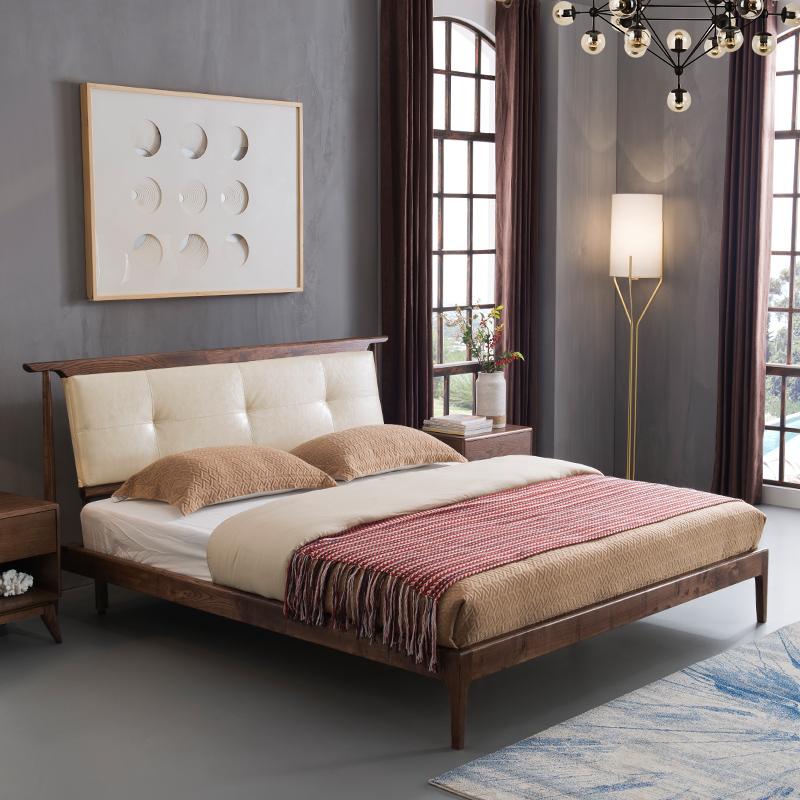 現代北歐全實木床1.8米簡約雙人床白蠟木主臥婚床1.5皮軟靠單人床