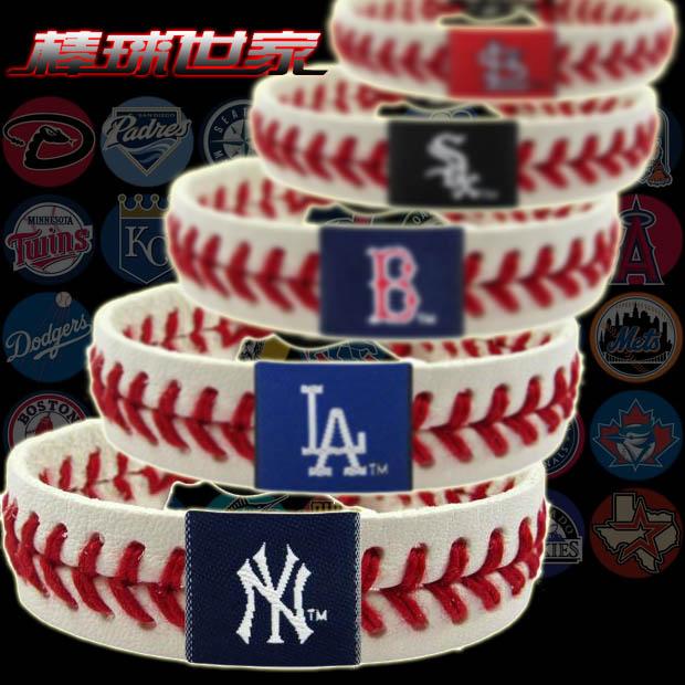 MLB искусственная кожа модель хорошо вентилятор модель браслет браслет BASEBALL SEAM BRACELET белые носки