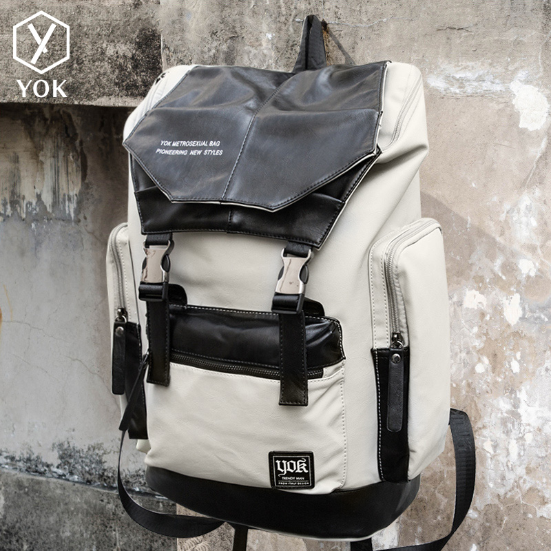 67ccf8405339 yok backpack men s new backpack fashion trend large-capacity travel bag pu  leather casual bag