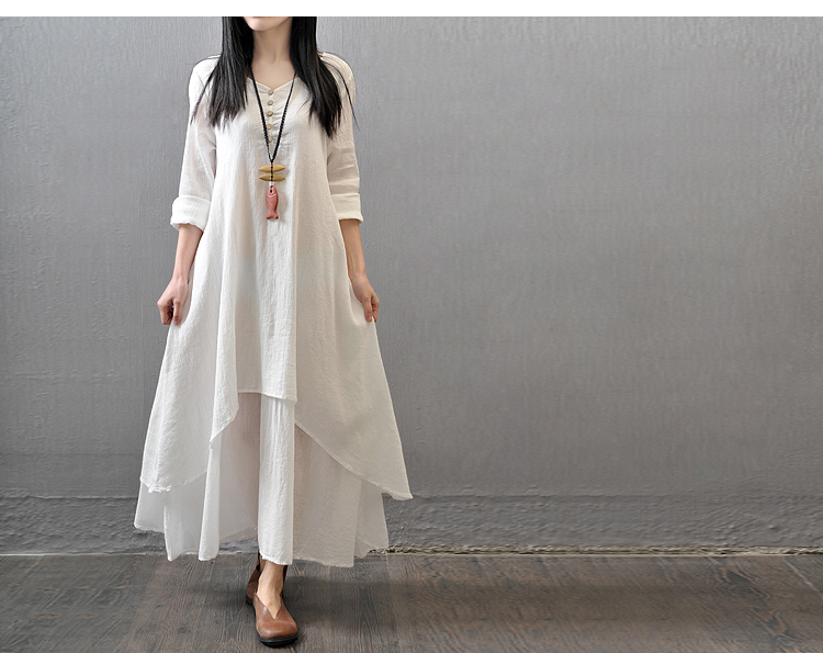 df09aed8a3 2019 Women Casual Spring Dress Loose Full Sleeve V Neck Button Plus ...