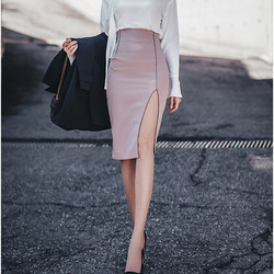 New spring and summer skirt package hip step skirt temperament wild female high waist skirts slit skirt bust before long sections skirt