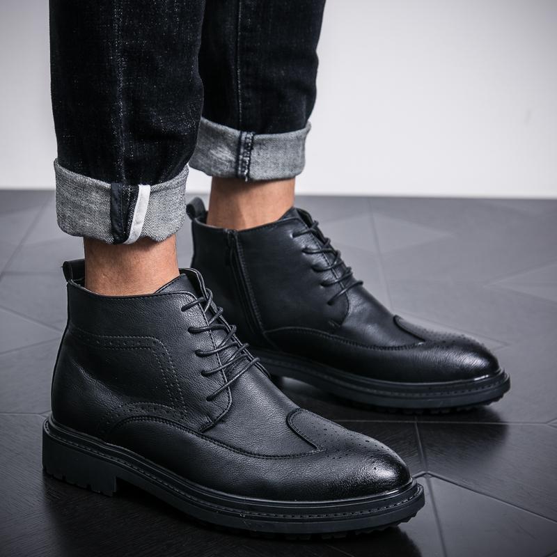 男士高帮马丁靴男英伦靴子潮流韩版布洛克v男士百搭皮靴青年短皮鞋