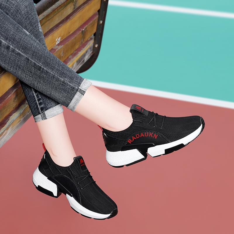 水之彩布兰卡迪樱歌周末有2019新款运动鞋系带拼色单鞋黑色女鞋