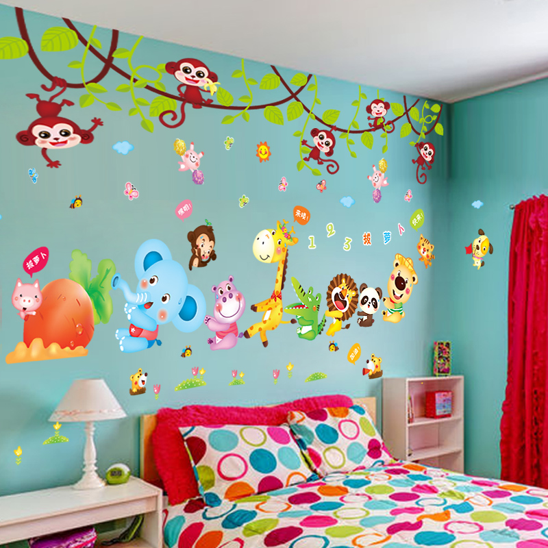 Childrens Room Wall Stickers Boy Cartoon Bedroom Wallpaper Cute Baby Decorations Self Adhesive