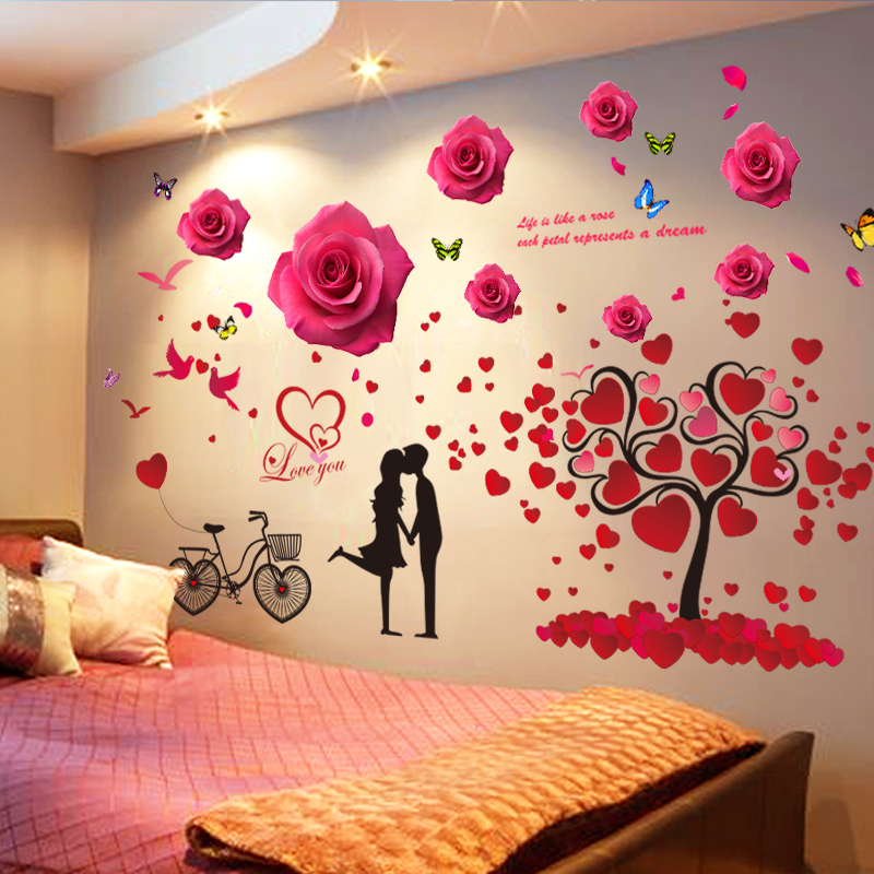 usd 13.77] 3d stereo bedroom wall sticker creative background wall