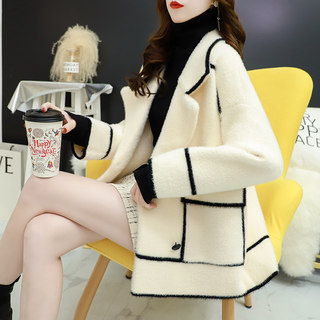 Imitation mink velvet sweater women's cardigan thickened autumn clothing 2020 new loose outer wear wild small fragrance knitted jacket