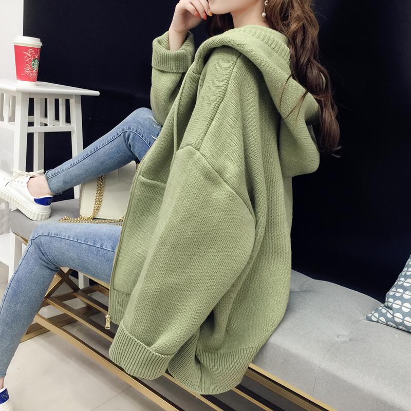 很仙的上衣开衫女短款春装2019外套新款韩版宽松连帽针织衫毛衣厚