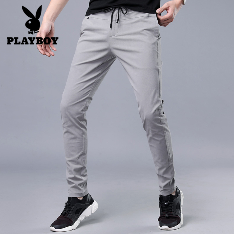 Playboy pants men's spring casual pants men's cotton thin feet pants Korean tide slim stretch pants men