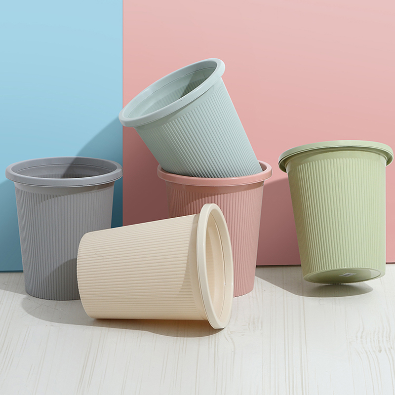 Living Room Trash Can Kitchen Bathroom Bedroom Household With Pressure Ring Small Toilet Trash Can Office Paper Basket Sale