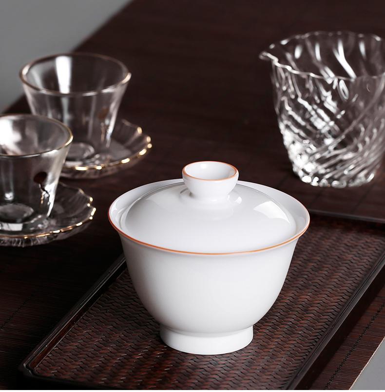 Sweet white jade three to make tea tureen dehua thin body white tea bowls cover a single large kunfu tea cups