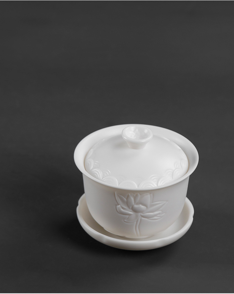 Biscuit firing manual anaglyph dehua white porcelain tureen tea cups suet jade large household three to prevent hot kunfu tea cup