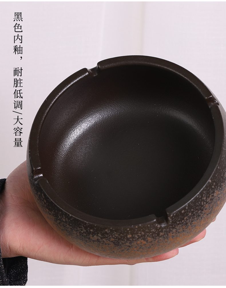 Japanese coarse pottery ashtray manually restoring ancient ways of fly ash home sitting room large thick smoke prevention cup furnishing articles