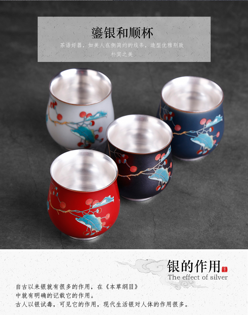 Tea is special masters cup ji red sample Tea cup ms ruby red single male silver mine loader 999 silver cups of jingdezhen