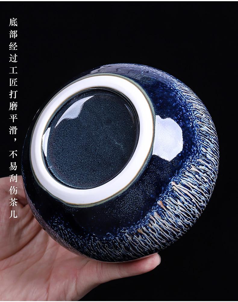 Temmoku glaze up trumpet tea caddy fixings seal pot of household ceramic moisture storage tank retro red POTS