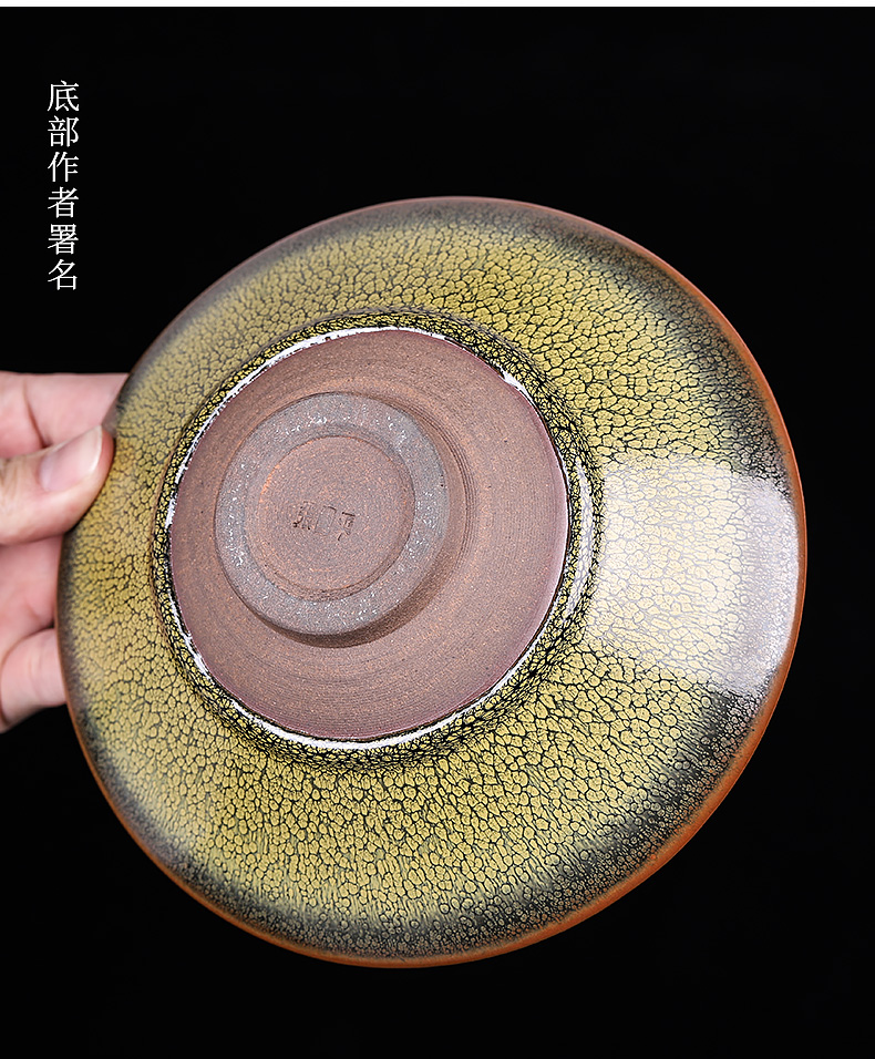 Partridge spot built one large bowl of pure manual tire iron hat to tea to wash the tea code cup of household ceramic tea fruit tray