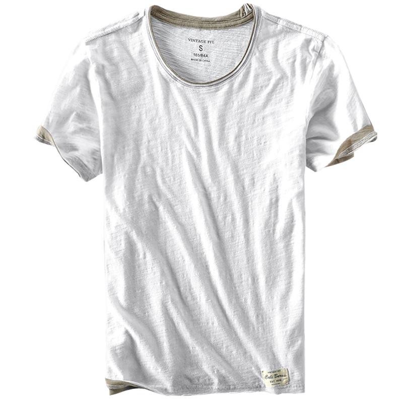 夏季男士竹節棉短袖t恤圓領薄款純棉毛邊做舊半袖上衣白色男款tee